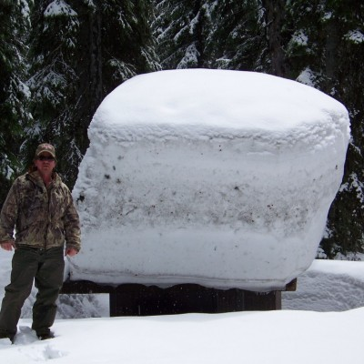 14 Mile Tree on Darby Montana Roads - Outhouse with snow